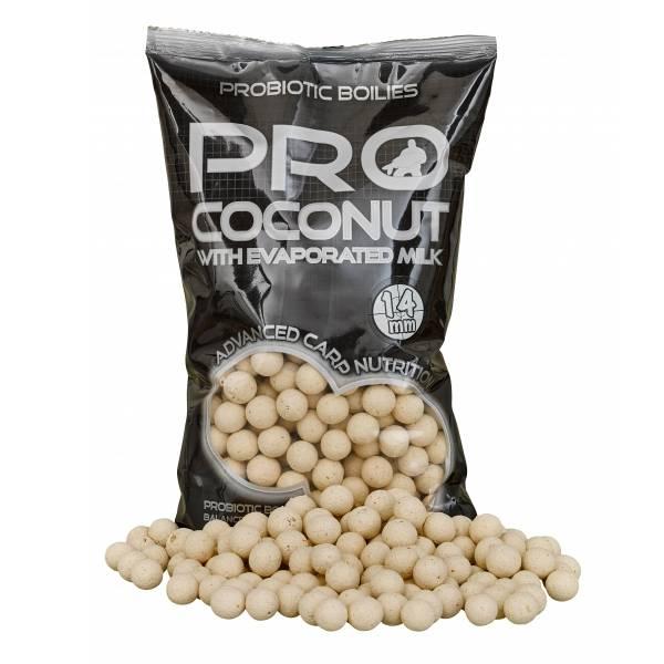 PROCoconut boilies - je nástraha ľahko a rýchlo identifikovateľná kaprom ako zdroj potravy. Vďaka svojej výraznej bielej farbe je rybou ľahko vizuálne rozpoznateľná. Po vzore všetkých nástrah v rade Probiotic aj ProCoconut je boilies plné prírodných ingrediencií a derivátov, ako sú kondenzované mlieko, kokos, kvasnice, betaín, extrakty z pečene, rôzne druhy minerálov a olejov, ktoré sú tak potrebné pre výživu kapra. Vďaka tomuto zloženiu sa stáva pre rybu len ťažko odolatelným sústom. Prísny výber, kvalita a čerstvosť jednotlivých surovín sú základom vysokej atraktivity a výkonnosti tohto boilies. Vysokú atraktivitu tohto boilies vytvára správna kombinácia jednotlivých zložiek a precízne vybraných tekutých atraktorov. Vďaka svojmu zloženiu je vhodné aj pre dlhodobé kŕmenie.Výborné výsledky dosahuje v chladnej vode. Pre zvýšenie atraktivity zvýraznite boilies ProCoconut dipom s lahodnou kokosovou vôňou.
