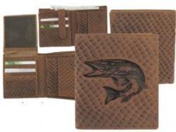 Kožená peňaženka ŠŤUKA - výška/šupinatá hnedá koža