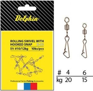 DELPHIN Obratlík s karabinou - Rollings swivel with Hooked snap B-03