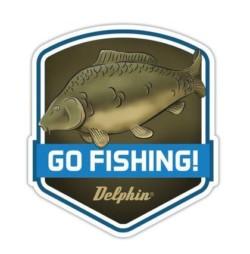 DELPHIN Nálepka GO FISHING! - 1ks