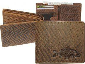 Kožená peňaženka KAPOR - šírka/šupinatá hnedá koža