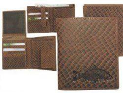 Kožená peňaženka KAPOR - výška/šupinatá hnedá koža