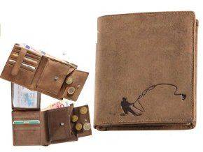 Kožená peňaženka RYBÁR - výška/hnedá