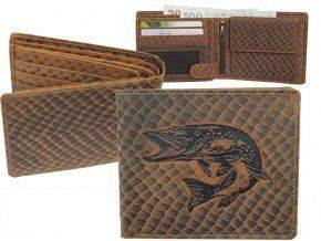 Kožená peňaženka ŠTUKA - šírka/šupinatá koža hnedá