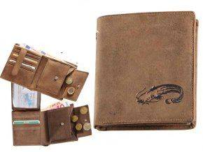 Kožená peňaženka SUMEC - výška/hnedá