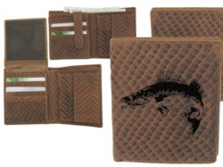 Kožená peňaženka ZUBÁČ – výška/šupinatá hnedá koža
