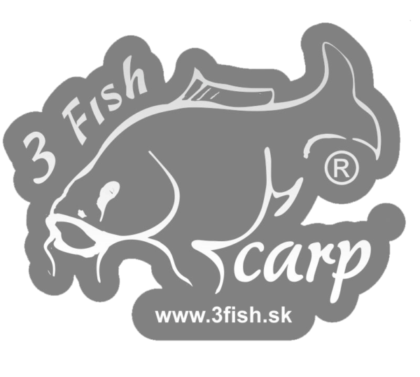 3Fish Nálepka - čierna silueta ryby s logom