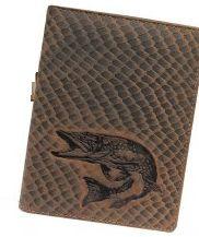 Kožené puzdro na doklady ŠŤUKA - hnedé šupinatá koža