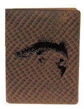 Kožené puzdro na doklady ZUBÁČ - hnedé šupinatá koža